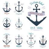 Vintage retro anchor badge vector sign sea ocean graphic element nautical anchorage symbol illustration. Vintage retro anchor badge and label. Vector sign sea Stock Images