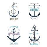 Vintage retro anchor badge vector sign sea ocean graphic element nautical anchorage symbol illustration Stock Images