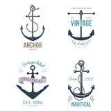 Vintage retro anchor badge vector sign sea ocean graphic element nautical anchorage symbol illustration. Vintage retro anchor badge and label. Vector sign sea Stock Photos
