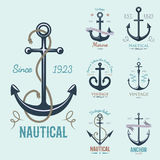 Vintage retro anchor badge vector sign sea ocean graphic element nautical anchorage symbol illustration Stock Photos