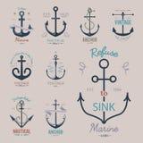 Vintage retro anchor badge vector sign sea ocean graphic element nautical anchorage symbol illustration. Vintage retro anchor badge and label. Vector sign sea Stock Photo