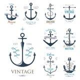Vintage retro anchor badge vector sign sea ocean graphic element nautical anchorage symbol illustration Stock Image