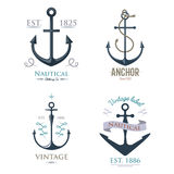 Vintage retro anchor badge vector sign sea ocean graphic element nautical anchorage symbol illustration Royalty Free Stock Photos