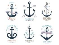 Vintage retro anchor badge vector sign sea ocean graphic element nautical anchorage symbol illustration Stock Photo