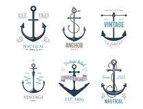 Vintage retro anchor badge vector sign sea ocean graphic element nautical anchorage symbol illustration Royalty Free Stock Images
