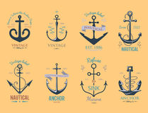 Vintage retro anchor badge vector sign sea ocean graphic element nautical anchorage symbol illustration Royalty Free Stock Photography