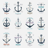 Vintage retro anchor badge vector sign sea ocean graphic element nautical naval illustration. Vintage retro anchor badge and label. Vector sign sea ocean graphic stock illustration