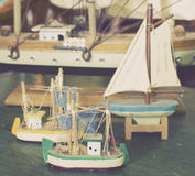 Vintage Retro Antique Toy Boats of Different Sizes Royalty Free Stock Photography