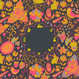 Vintage retro background with floral ornament, empty space the m Stock Photos
