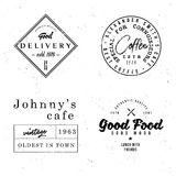 Vintage retro badges on food and cafe theme. Monochrome line old labels for restaurant menus, drink cards, advertising or branding Royalty Free Stock Photo