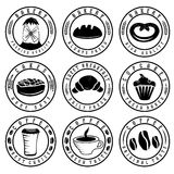 Vintage retro bakery and coffee labels Royalty Free Stock Image