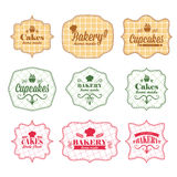 Vintage retro bakery labels Stock Photos