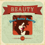 Vintage retro Beautiful woman silhouette Royalty Free Stock Images