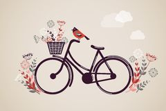 Vintage Retro Bicycle Background. With flowers and bird vector illustration