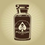 Vintage Retro Bottle of Poison Illustration Stock Image