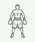 Vintage retro boxer. Can be used for logo, badge, emblem, mark, Royalty Free Stock Photo