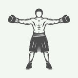 Vintage retro boxer. Can be used for logo, badge, emblem, mark, Stock Image