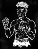 Vintage retro boxer fighter, player illustration. A close-up of hand drawn boxer fighter, player or champion with wrapped hands. Traditional tattoo style retro Stock Images