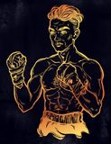 Vintage retro boxer fighter, player illustration. A close-up of hand drawn boxer fighter, player or champion with wrapped hands. Traditional tattoo style retro Royalty Free Stock Photography