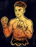 Vintage retro boxer fighter, player illustration. A close-up of hand drawn boxer fighter, player or champion with wrapped hands. Traditional tattoo style retro Royalty Free Stock Image