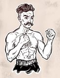 Vintage retro boxer fighter, player illustration. A close-up of Hand drawn boxer fighter, player in vintage style with knuckles. Traditional tattoo style retro Stock Images