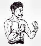 Vintage retro boxer fighter, player illustration. Royalty Free Stock Photos