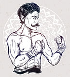 Vintage retro boxer fighter, player illustration. Stock Image