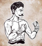 Vintage retro boxer fighter, player illustration. Stock Images