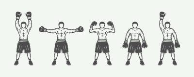 Vintage retro boxers set. Can be used for logo, badge, emblem, mark, label. Royalty Free Stock Image