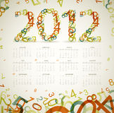 Vintage retro calendar 2012. Vintage retro calendar for the new year 2012 with numbers Stock Photo