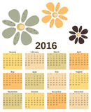 Vintage retro 2016 calendar with flowers background template illustration Royalty Free Stock Image