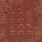 Vintage retro calender of 2013 new year vector Stock Images