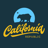Vintage retro california republic calligraphic t-shirt apparel f Royalty Free Stock Photos