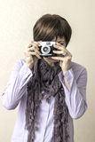 Vintage retro camera Stock Images