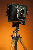 Vintage retro camera on a tripod Stock Photos