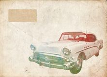 Vintage retro car. A vintaged postcard with a retro car Stock Photos