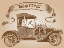 Vintage retro car hatching hand drawing Royalty Free Stock Photography