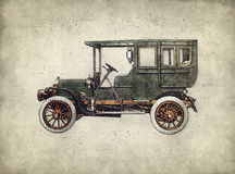 Vintage retro car hatching hand drawing. Green antique automobile Royalty Free Stock Photos