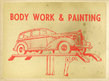 Vintage Retro Car Repair Poster Stock Photography