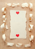 Vintage retro card. Happy Valentine's Day. Ripped pieces of paper on grunge paper background. vintage retro card. Happy Valentine's Day Royalty Free Stock Image