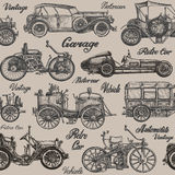 Vintage, retro cars. Background. banner, poster. Collection of vintage cars on a brown background. vector illustration Stock Photography