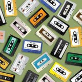 Vintage Retro Cassette Tape Pattern Design Template. Vector Illustration stock illustration