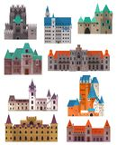 Vintage or retro castles or forts, citadel and palace. Retro or old medieval castles made of stone. Set of isolated fort buildings with towers and gates. Tourism Royalty Free Stock Images