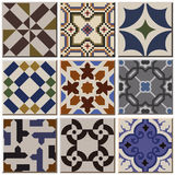 Vintage retro ceramic tile pattern set collection 001. Antique retro ceramic tile pattern set collection can be used for wallpaper, web page background, surface Vector Illustration
