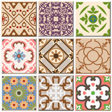 Vintage retro ceramic tile pattern set collection 002. Antique retro ceramic tile pattern set collection can be used for wallpaper, web page background, surface Stock Photos