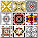 Vintage retro ceramic tile pattern set collection 003. Antique retro ceramic tile pattern set collection can be used for wallpaper, web page background, surface vector illustration