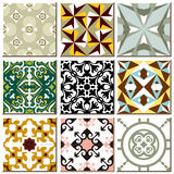 Vintage retro ceramic tile pattern set collection 007. Antique retro ceramic tile pattern set collection can be used for wallpaper, web page background, surface Stock Photography
