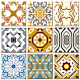 Vintage retro ceramic tile pattern set collection 008. Antique retro ceramic tile pattern set collection can be used for wallpaper, web page background, surface Royalty Free Stock Photo