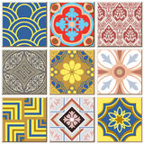 Vintage retro ceramic tile pattern set collection 040. Antique retro ceramic tile pattern set collection can be used for wallpaper, web page background, surface Royalty Free Illustration