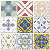 Vintage retro ceramic tile pattern set collection 039. Antique retro ceramic tile pattern set collection can be used for wallpaper, web page background, surface Royalty Free Stock Images